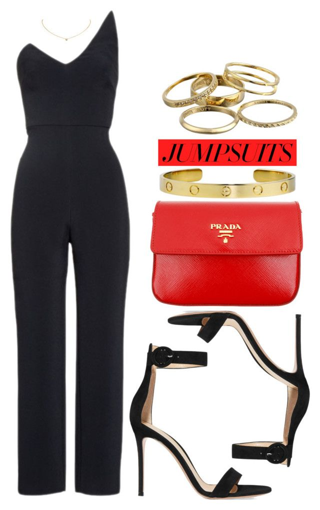"""""""One and Done: Jumpsuits"""" by vany-alvarado ❤ liked on Polyvore featuring Cushnie Et Ochs, Gianvito Rossi, Prada, Cartier, Kendra Scott and jumpsuits"""