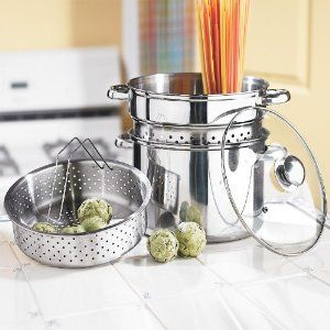 Brylanehome Versatile 4-In-1 Stainless Steel Pot by Brylane Home. $29.99. multi-item-packing. casual-style. traditional-style. contemporary. stainless-steel. 4-In-1 Pot Cooks Virtually Everything! Stainless steel 8-Qt. Stock Pot makes soups, stews, chili and more. Includes a steamer basket to cook quick-n-easy, healthy-n-delicious veggies, plus a pasta basket to cook-n-drain noodles, ravioli and such! Tempered glass lid with steam vent lets you observe the cooking proc...