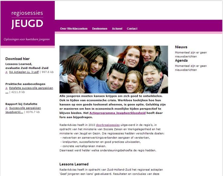 Website regiosessiesjeugd.nl als tool bij een onderzoek naar succesvolle aanpakken Jeugdwerkloosheid in 30 arbeidsmarktregio's.  > Verantwoordelijk voor website, eindredactie adviesrapport aan het ministerie van SZW.