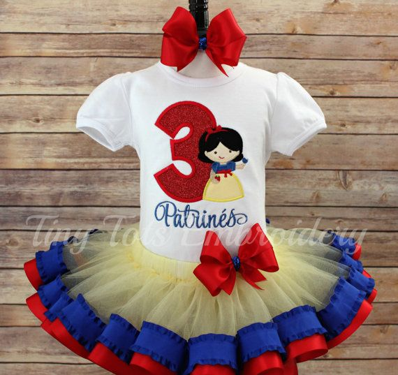 Snow White Birthday Tutu Outfit Includes by TinyTotsEmbroidery