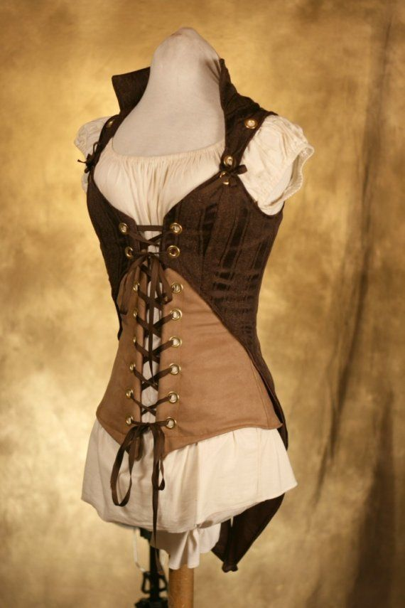 Underbust corset with separate jacket (jacket has tails!), removable sleeves.