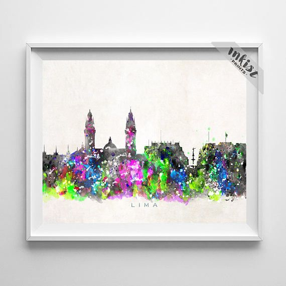 Lima Skyline Print, Peru Print, Lima Poster, Watercolor Art, Wall Decor, City Skyline, Giclee Art, Living Room Decor, Christmas Gift. Wall Art. PRICES FROM $9.95. CLICK PHOTO FOR DETAILS. #inkistprints #skyline #watercolor #watercolour #giftforher #homedecor #nursery #wallart #walldecor #poster #print #christmas #christmasgift #weddinggift #nurserydecor #mothersdaygift #fathersdaygift #babygift #valentinesdaygift #dorm #decor #livingroom #bedroom