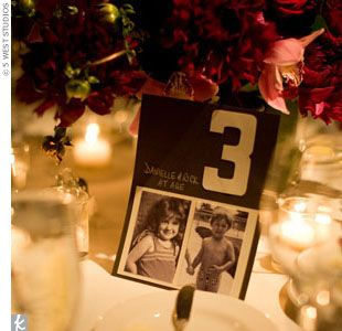 Cute idea for table numbers... Pics of the bride of groom at that age.: Bride Grooms, Cute Ideas, The Bride, Cool Ideas, Tables Numbers, Great Ideas, Places Cards, Table Numbers, Blushes Bride
