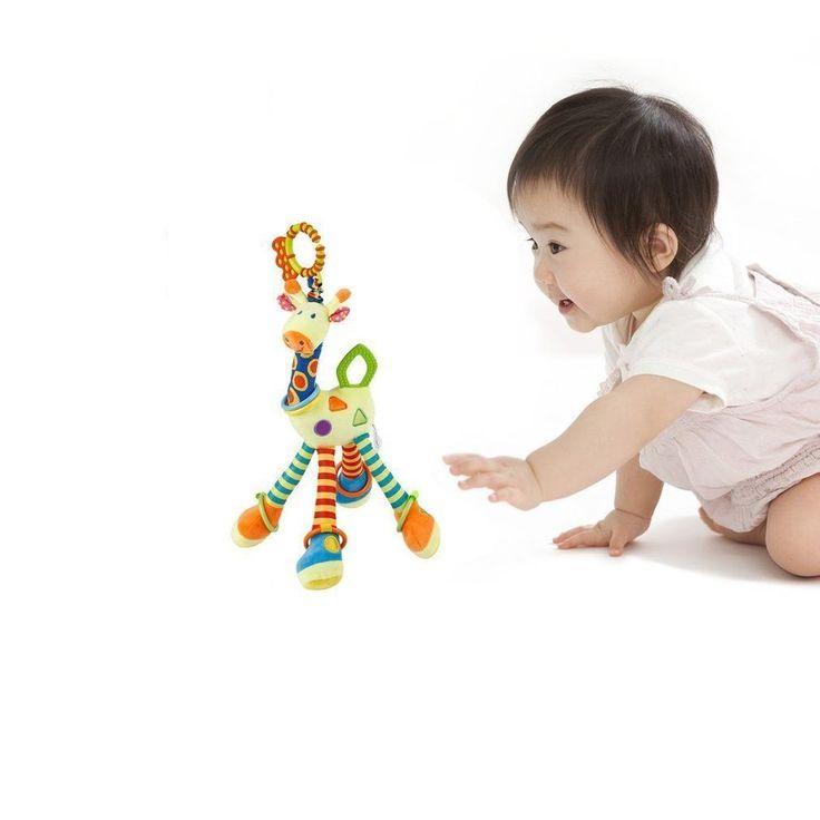 Colourful Plush Giraffe Animal Clip Pushchair Baby Toy Crib Children Play Set