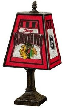 Black Novelty Lamps: NHL 14 in. Chicago Blackhawks Art Glass Table Lamp NHL CBH contemporary table lamps