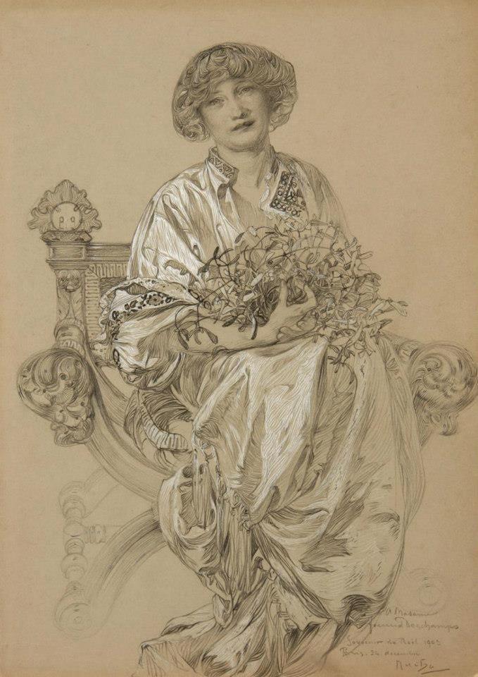 Art Nouveau - Portrait of Madame Deschamps by Alphose Mucha 1903