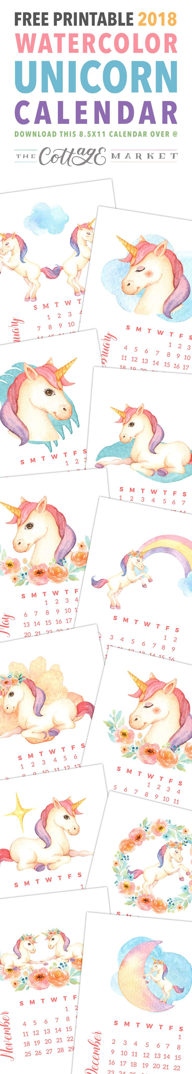 Free Printable 2018 Watercolor Unicorn Calendar