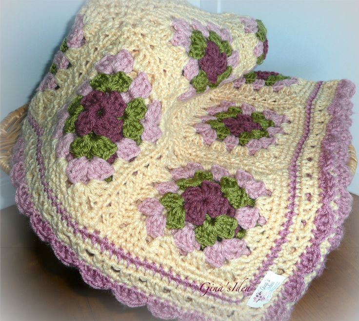 Crocheted Soft BABY GIRL BLANKET Afghan Granny Squares ...