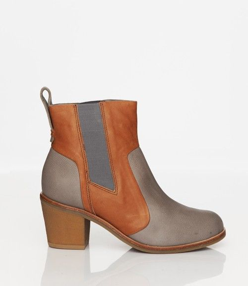 Skin by FINSK AW13: 465-01 GREY contrast leather chelsea boot from Skin By FINSK.