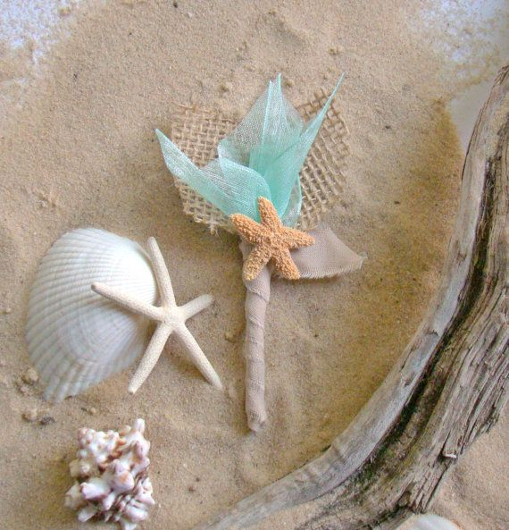 Starfish Boutonniere Mens boutonnieres Beach Wedding Destination Wedding Tropical Natural Neutral Island Wedding Caribbean Blue on Etsy, $13.00
