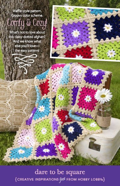 What's not to love about this DIY daisy-dotted afghan? Even better...there's an easy pattern to make it!
