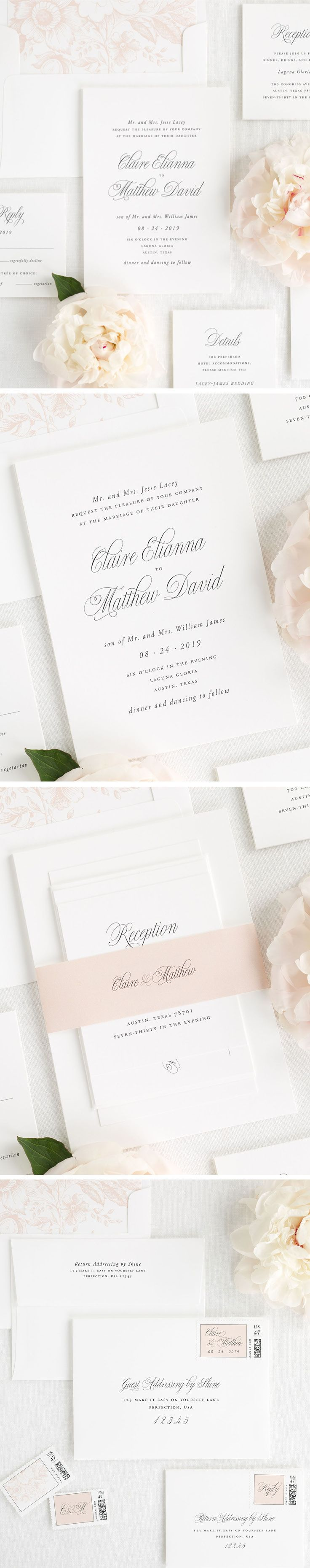 Romantic garden wedding invitations in blush pink with a floral envelope liner. Design your perfect wedding invitation with Shine. With addressing services, custom stamps, and envelope liners, there are so many ways to make this suite yours. Choose from over 40+ ink colors, several card stocks, and your choice of wording. Click here to create a wedding invitation suite that will stand the test of time.