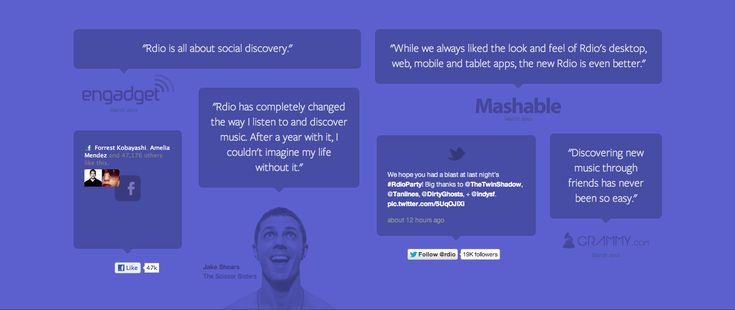 Footer from Rdio #testimonials #inspiration #webdesign