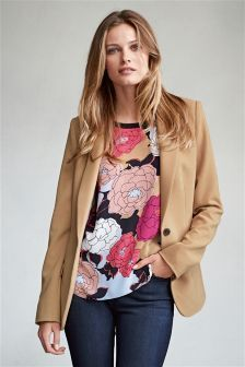 Camel Tailored Workwear Jacket - needs tucking in - but like the colour and print under jacket