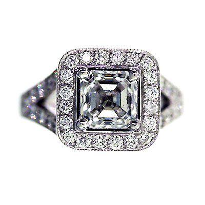 'Halo' Engagement Ring - Asscher Diamond - Diamond Imports