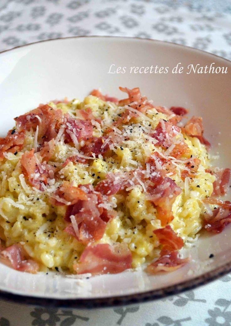 J'adore le risotto ! A toutes les sauces :-)  Ici j'ai choisi de les faire à la carbonara, pourquoi pas ?  Ça tombe bien, il me restai...