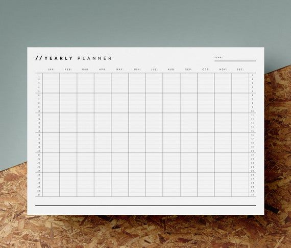 Open Dated Yearly Planner Printable Any Year Calendar 12 Month