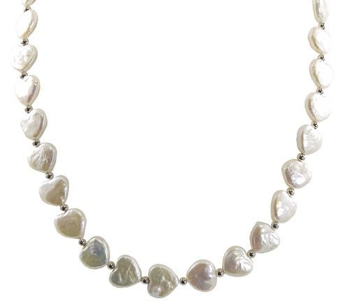 """17"""" Heart Shaped Freshwater Pearl & Sterling Silver Bead Necklace at http://www.pearls.com"""
