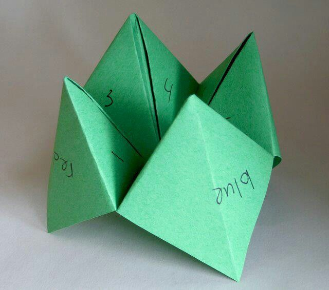 "Paper-folded fortune game called a ""cootie catcher."" Folding instructions included."
