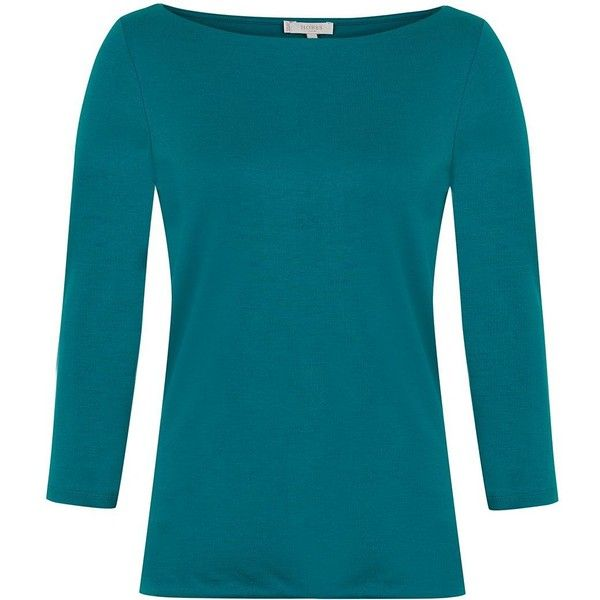 Hobbs Sonya Top ($45) ❤ liked on Polyvore featuring tops, green, women, 3/4 sleeve boatneck top, boatneck top, 3/4 length sleeve tops, three quarter sleeve tops and hobbs
