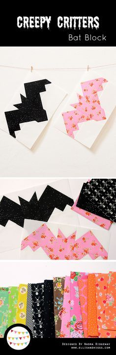 Bat quilt block for Halloween! - Creepy Critters by Nadra