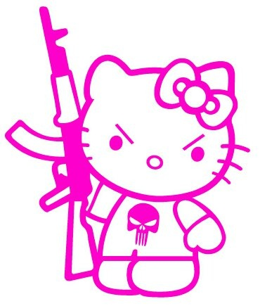 Hello Kitty Holding Gun, stickers for gals decals, girls stickers, female decal stickers, window stickers, window decals, car decals