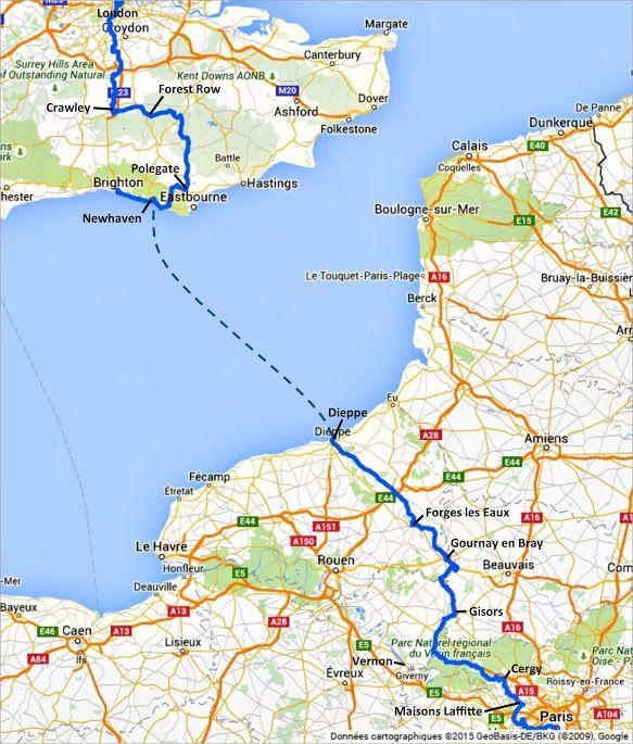 Itinéraire principal de l'Avenue Verte London Paris, par Gisors, que nous avons emprunté - Paris Londres à vélo par veloiledefrance.com
