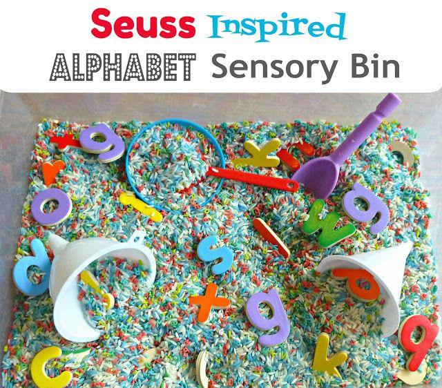 Seuss-Inspired Alphabet Sensory bin