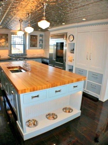 Artisan Kitchens Built In Dog Bowls - if I do custom cupboards in kitchen, should I build in a little cat bowl alcove?  Maybe two, one for each beastie?