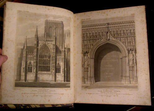 History and Antiquities Metropolitan Church of York England 1819 leather illustr
