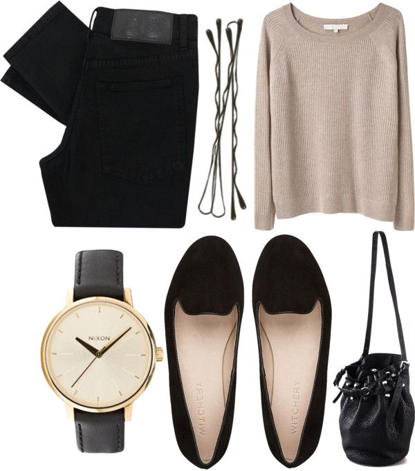 slim black pants/jeans/trousers, neutral top/sweater/pullover and black flats. ♥ perfect combination