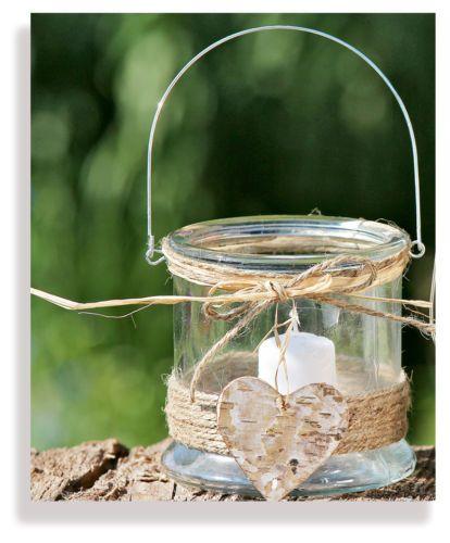 Windlicht - Laterne Herz aus Glas Herzlaterne für Haus und Garten für Teelicht