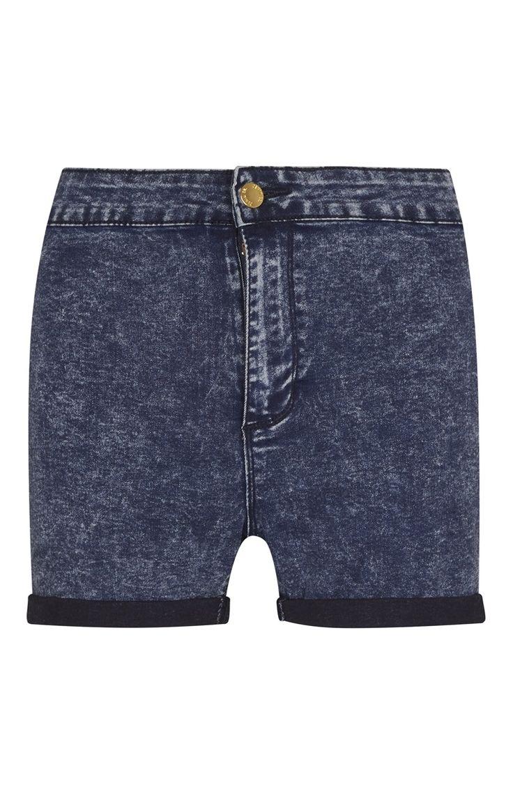 Short slim bleu en jean délavé