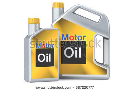 Two plastic canisters of motor oil with label. 3d llustration, 3D render, isolated on white background