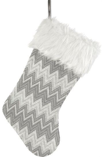 Przyjemna w dotyku szara ozdobna skarpeta we wzory z białym futerkiem