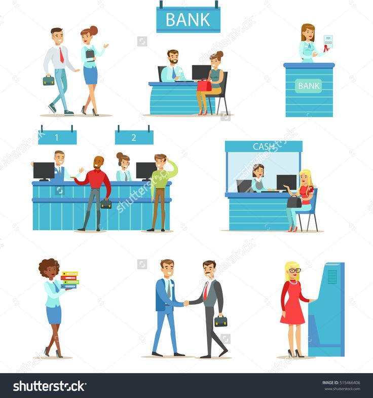 Bank Service Professionals And Clients Different Financial Affairs Consultancy, ATM Cash Manipulation And Other Business Collection Of Illustrations