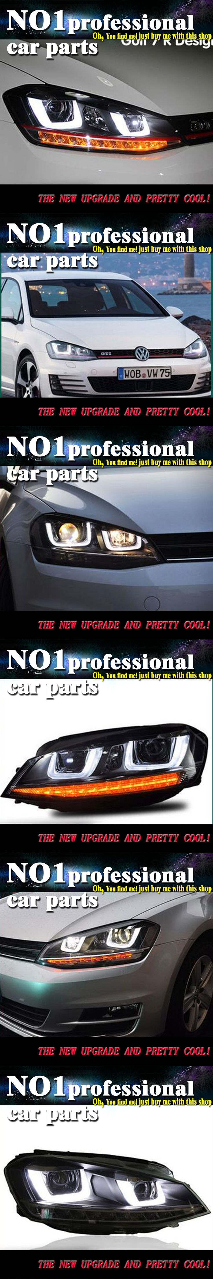Car Styling 2013-2015 For VW Golf 7 headlights led  head lamp DRL front Bi-Xenon Lens Double Beam HID KIT