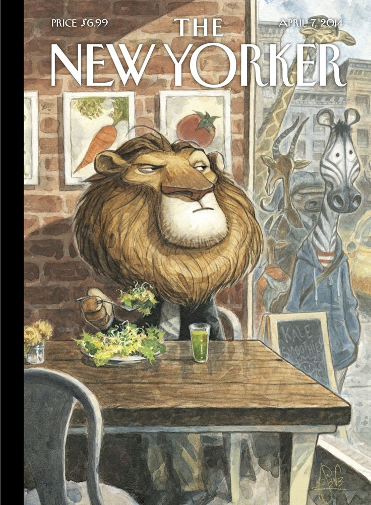"""The New Yorker - Monday, April 7, 2014 - Issue # 4539 - Vol. 90 - N° 7 - Cover """"A New Leaf"""" by Peter de Sève"""