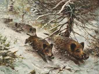 Wilhelm (Willi) Lorenz (German, 1901-1981) Wild boars running in the forest