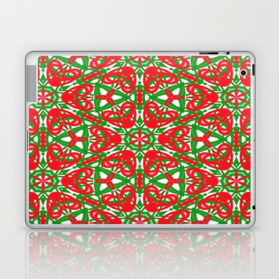 Re, White and Green Kaleidoscope laptop skin. Skins are thin, easy-to-remove, vinyl decals for customizing your laptop .