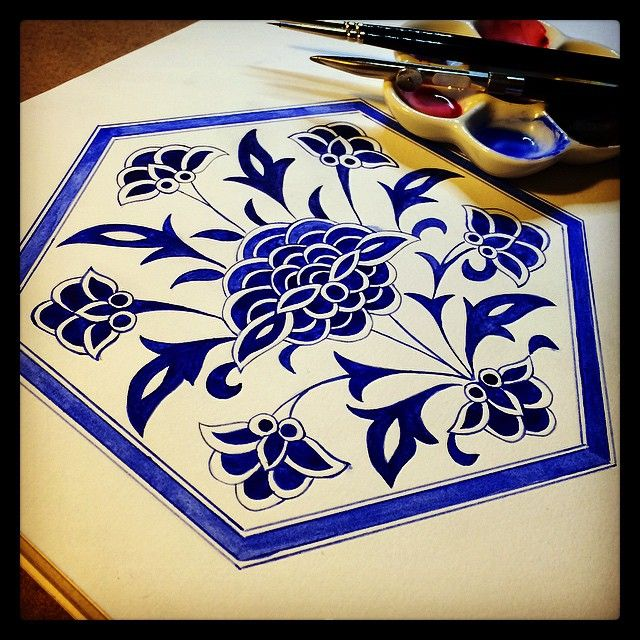A Turkish tile motif. #islamicart #iznik #tile #hexagon #symmetry #watercolor #watercolour #aquarelle #islimi #turkiye #blue #geometricart