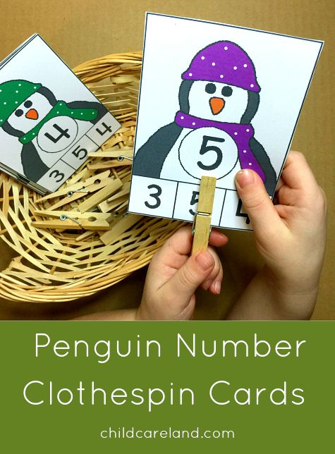 Penguin Number Clothespin Cards for math and fine motor development.