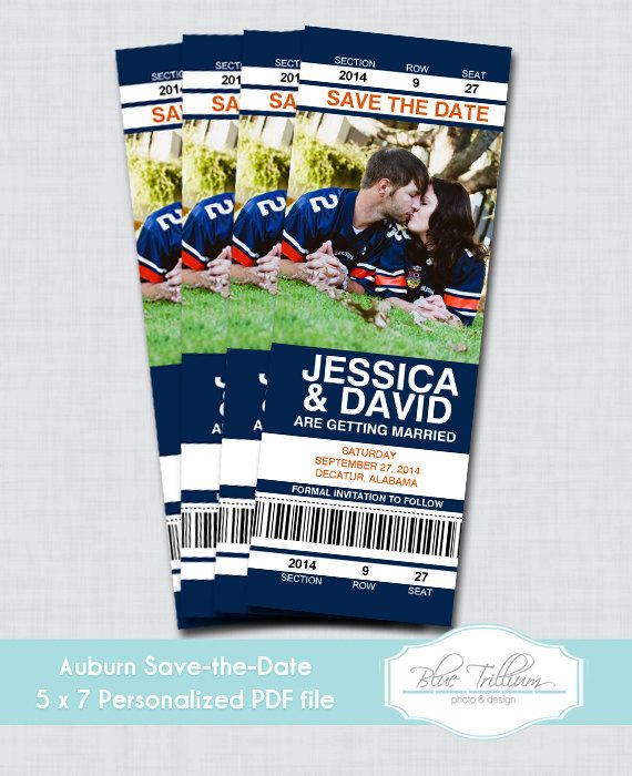 Customized Auburn Tiger Ticket Photo Save the Date
