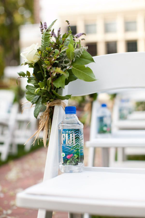 a bottle of water on each chair for a summer ceremony? (or at a table w/ sunglasses and off wipes)?