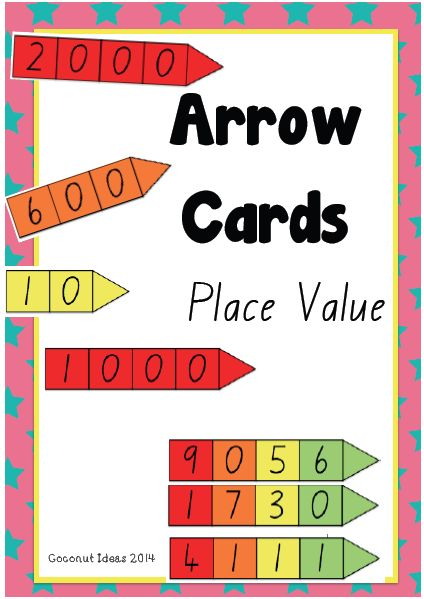 Arrow Cards- Place Value --- The Arrow Cards are great when teaching number and place value. Students can use these cards to make numbers and see the place value of each number. Simply place the cards on top of each other.  This resource also assist students with expanded notation.  I can also be used to solve addition problems when teaching the split strategy.  Feedback and suggestion of other uses welcome!  Enjoy! #reachingteachers