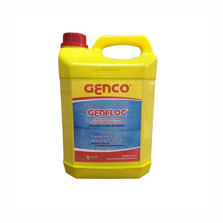 Clarificante Auxiliar/Filtração 5l Genfloc Genco e Auxiliar de Filtração GENCO é um eficiente clarificante a auxiliar de filtração para águas de piscinas.