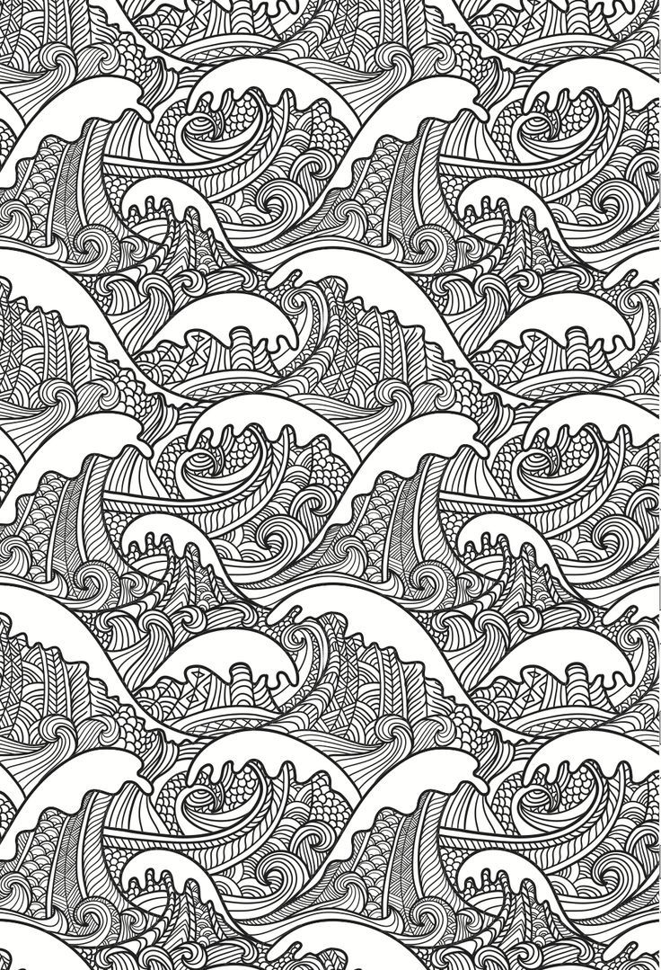 Mandala coloring pages (jumbo coloring book) - Beautiful Waves Colouring Page In An Artistic Japanese Style Grown Up Colouring Abstract Doodle Coloring Pages Colouring Adult Detailed Advanced Printable