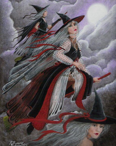 """Witch Halloween Folk Art PRINT """"Three Witches"""" Witch Flying Cat Full Moon Byrum on Etsy, $10.99"""