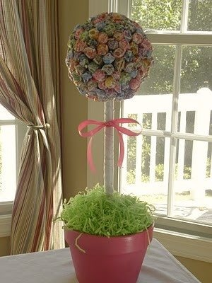 Pretty in Pots Lollipop Topiary -- cute for a Spring party, Disney movie night or a kid's birthday