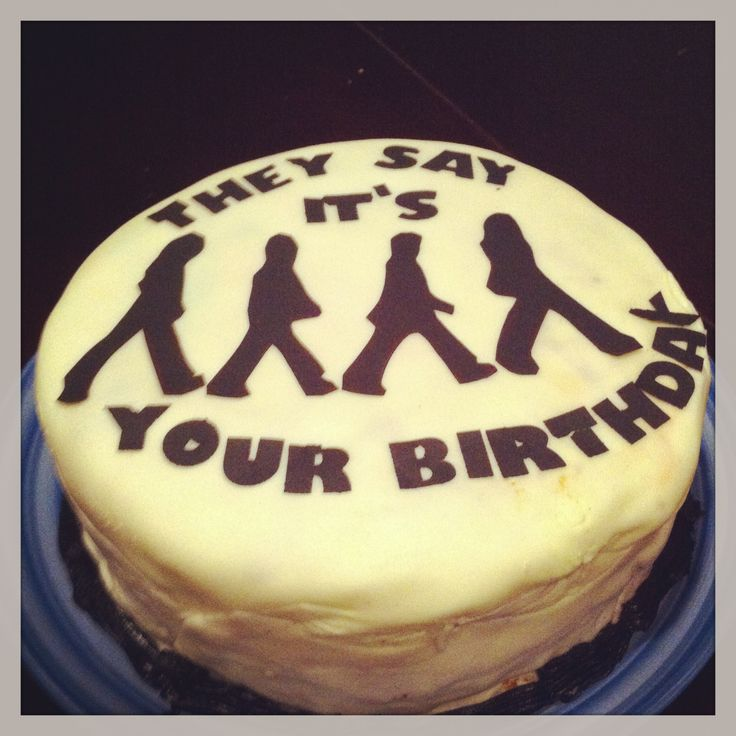 Beatles Birthday Cake  Made a carrot cake covered in white fondant & cut out Beatles' shapes in black fondant paper ..